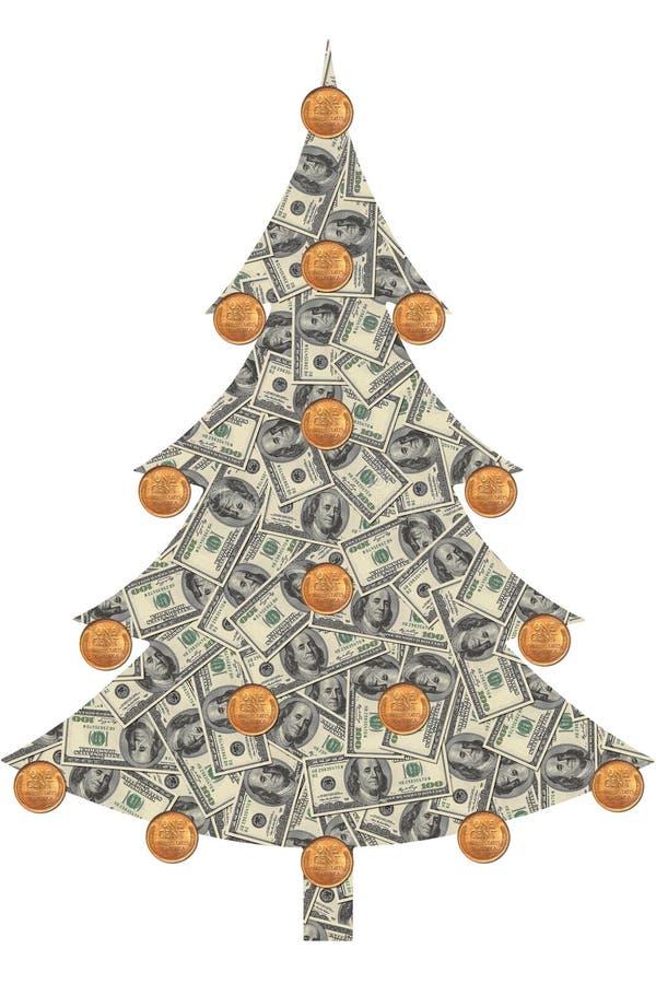 Árbol de navidad hecho de dólares libre illustration