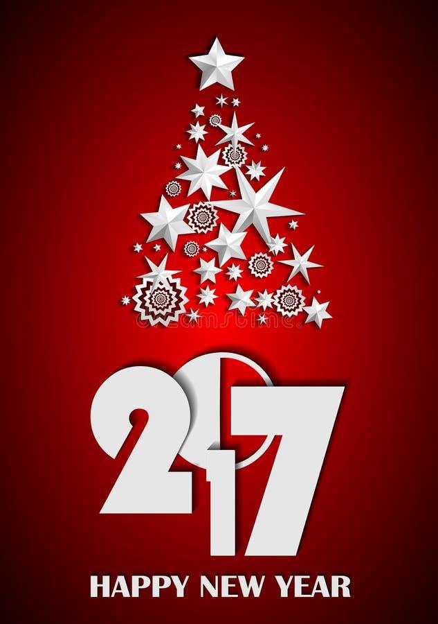 Árbol de navidad hecho de estrellas y de copos de nieve en fondo rojo Concepto 2017 del Año Nuevo libre illustration