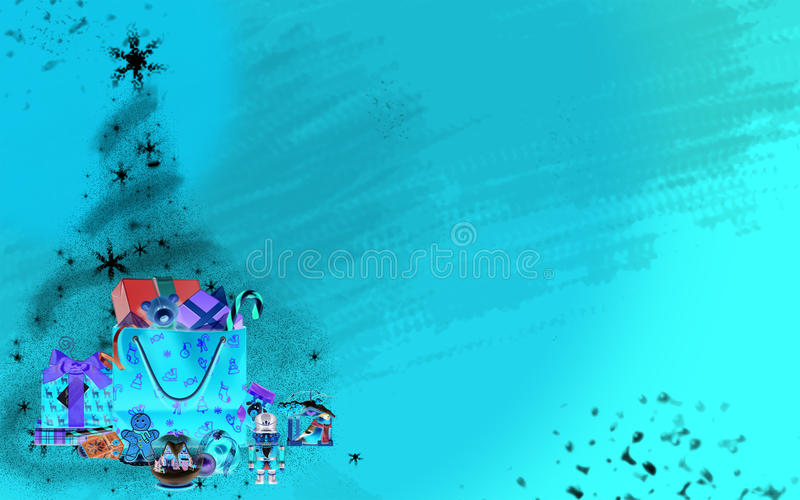 Árbol de navidad hecho de las estrellas y de los regalos (fondo azul brillante) stock de ilustración