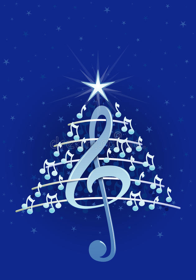 Árbol De Navidad Hecho De Las Notas Musicales, De La Clave De Sol Y ...