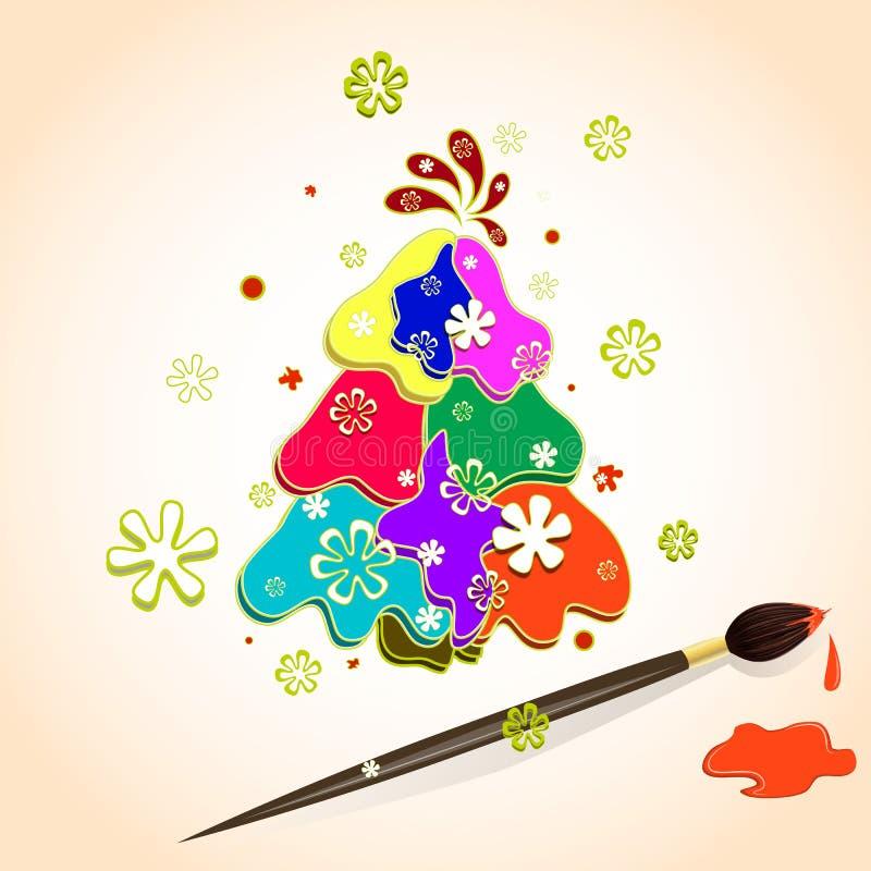 Árbol de navidad hecho de puntos multicolores de la pintura en el papel, los copos de nieve y cepillo con la pintura Ejemplo del  stock de ilustración