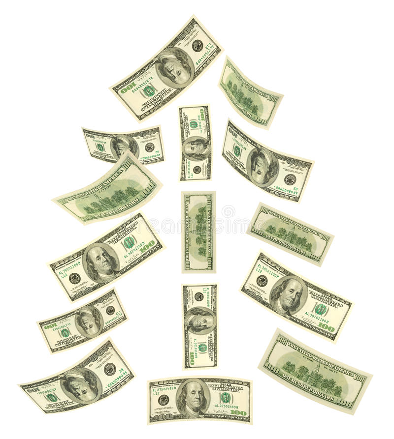 Árbol de navidad hecho del dinero que cae imágenes de archivo libres de regalías