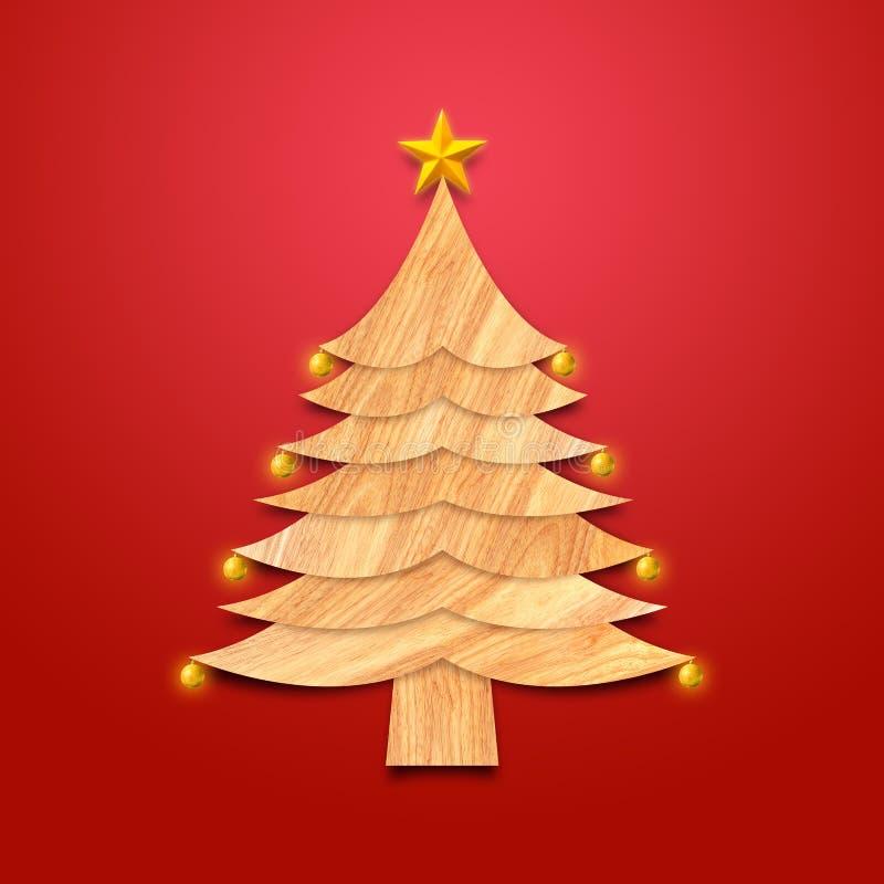 Árbol de navidad hecho de la madera con las decoraciones y la estrella de oro fotos de archivo