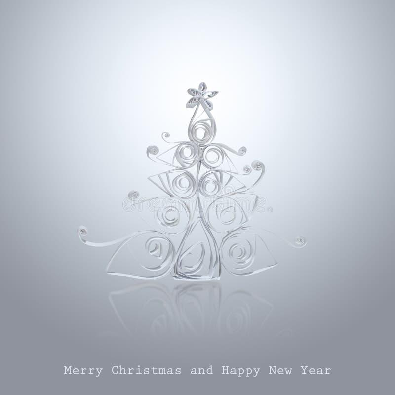 Árbol de navidad hecho a mano cortado del papel de la oficina fotografía de archivo