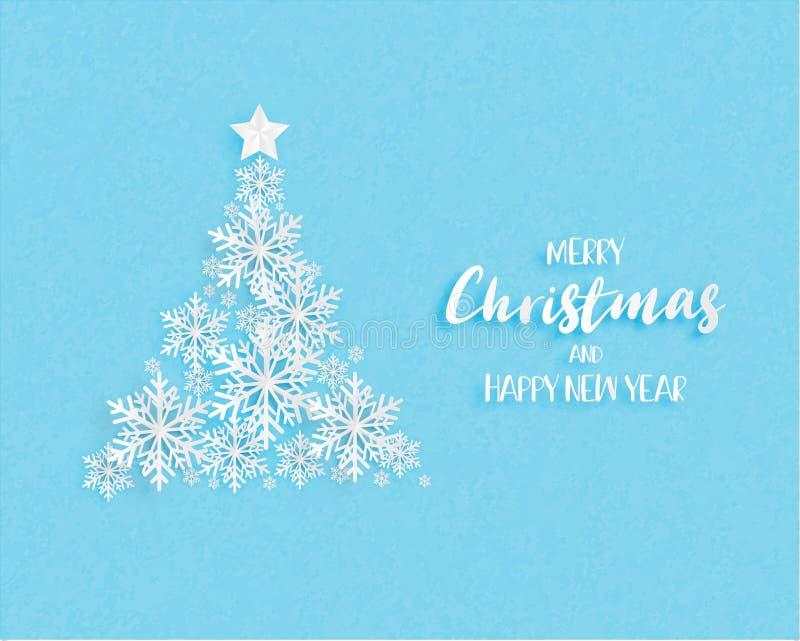 Árbol de navidad hecho por los copos de nieve de la papiroflexia en fondo azul Arte de Digitaces en el estilo cortado de papel Il ilustración del vector