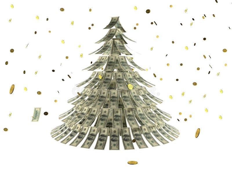 Árbol de navidad hecho por los dólares con la moneda como nieve stock de ilustración