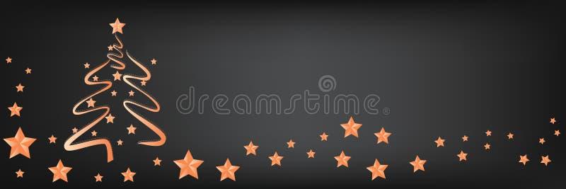 Árbol de navidad hermoso con las estrellas en un fondo panorámico, copia-espacio para el texto ilustración del vector