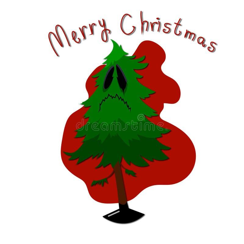 Árbol de navidad de la noche del invierno del ejemplo del vector stock de ilustración