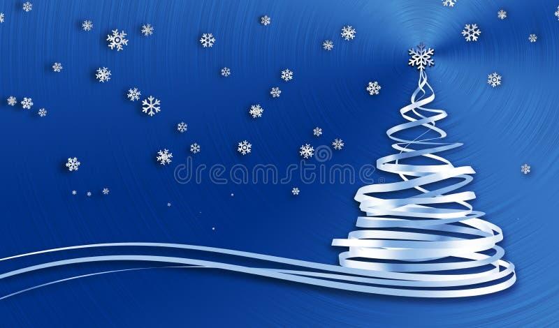 Árbol de navidad de las cintas y de los copos de nieve del blanco sobre fondo azul del metal stock de ilustración