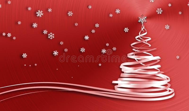 Árbol de navidad de las cintas y de los copos de nieve del blanco sobre fondo rojo del metal stock de ilustración