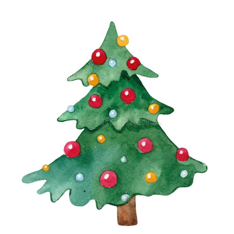 Árbol de navidad lindo de la acuarela adornado con las bolas coloreadas ilustración del vector