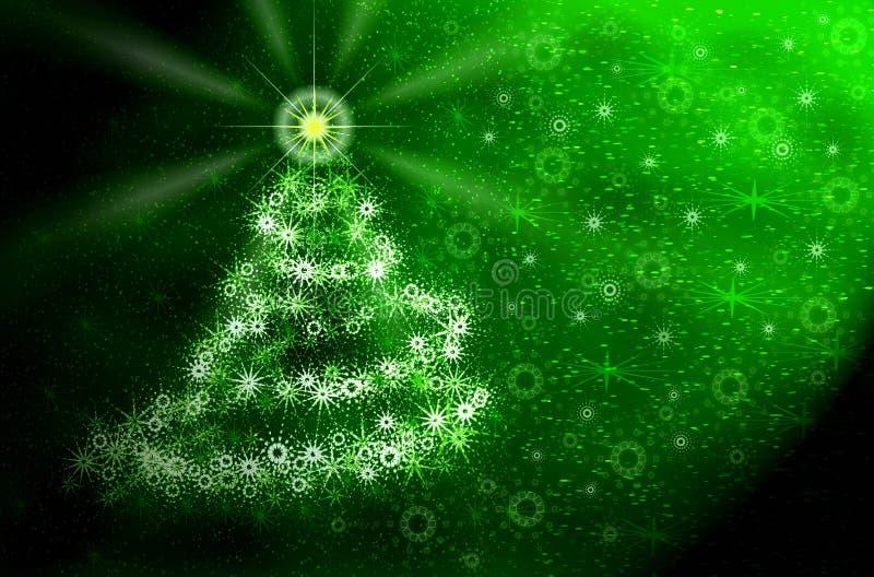 Árbol de navidad. Luz mágica verde stock de ilustración