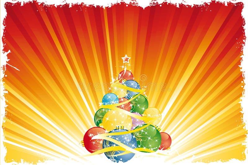 Árbol de navidad mágico stock de ilustración