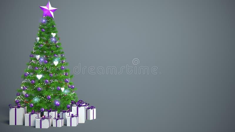 Árbol de navidad maravillosamente adornado con los presentes illustrat 3d ilustración del vector
