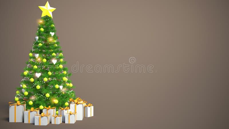 Árbol de navidad maravillosamente adornado con los presentes illustrat 3d libre illustration