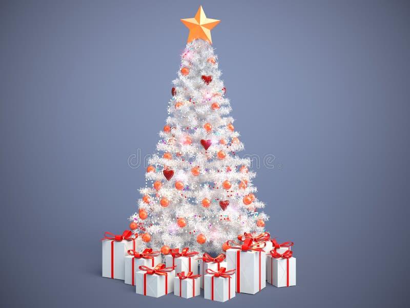 Árbol de navidad maravillosamente adornado con los presentes illustrat 3d stock de ilustración