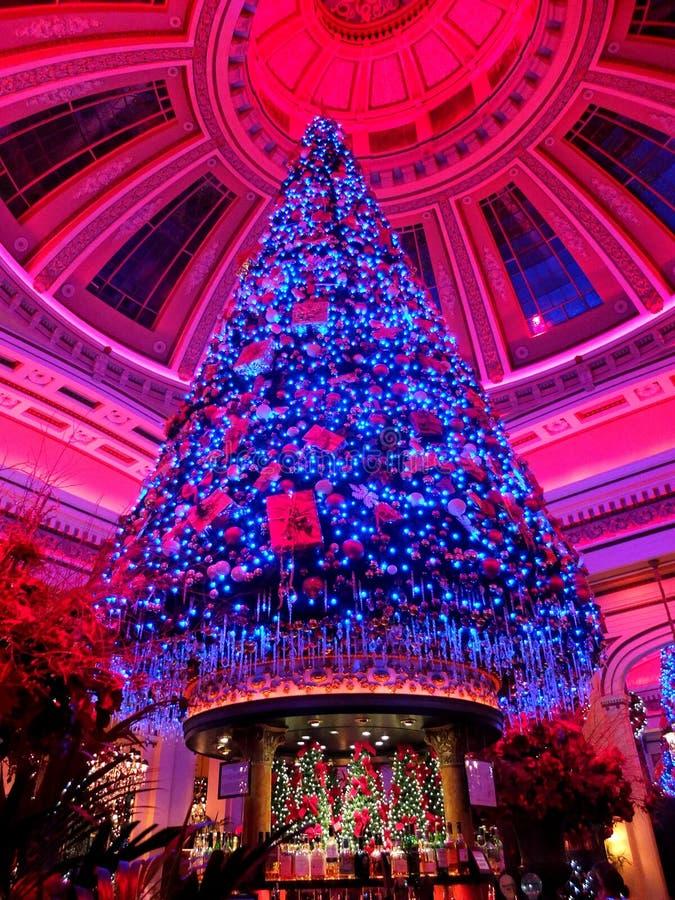 Árbol de navidad maravillosamente adornado grande en Edinbrough foto de archivo