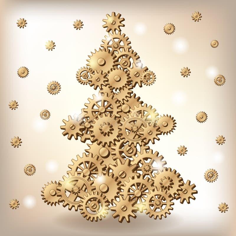 Árbol de navidad mecánico stock de ilustración