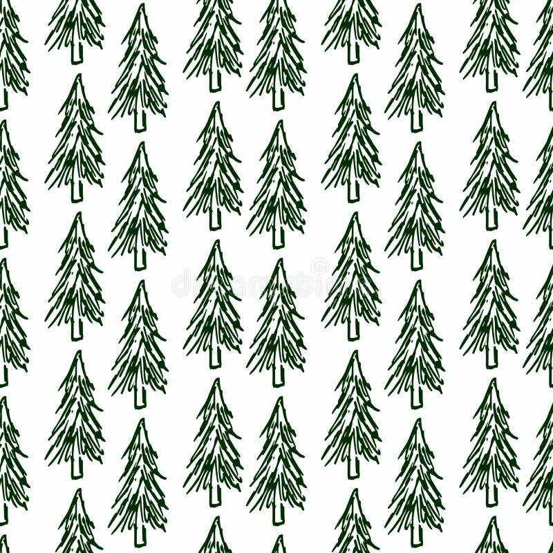 Árbol de navidad Modelo inconsútil Bosque Spruce ilustración del vector