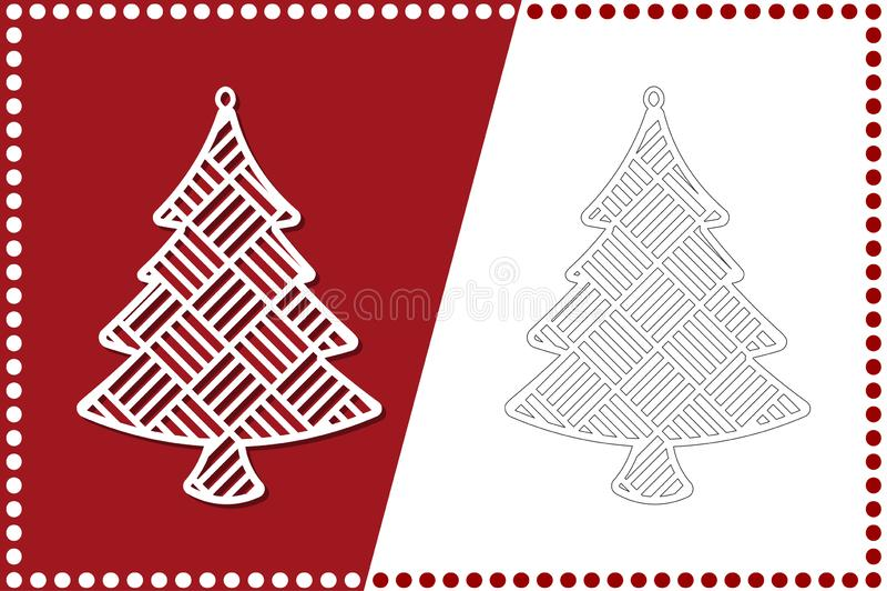 Árbol de navidad moderno El juguete del Año Nuevo para el corte del laser Ilustración del vector stock de ilustración