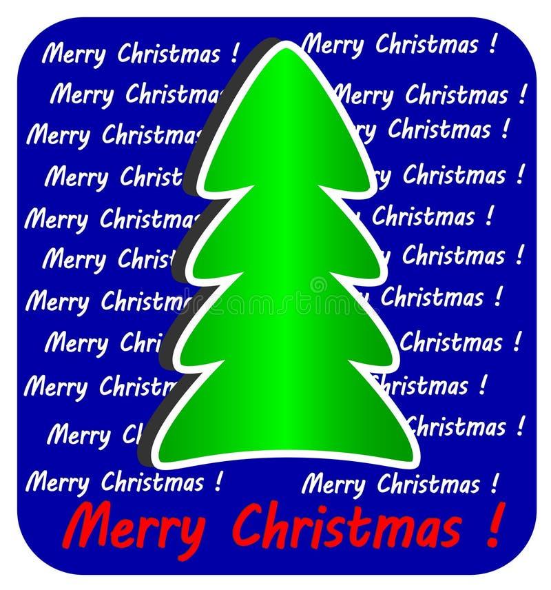 Árbol de navidad moderno en fondo azul, ilustración del vector