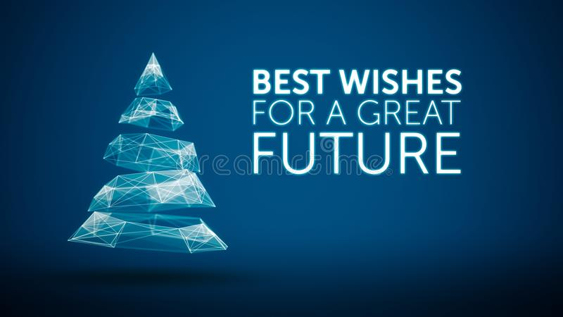 Árbol de navidad moderno y gran mensaje futuro de los saludos de la estación de los deseos en fondo azul Social elegante de las v libre illustration