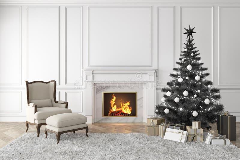 Árbol de navidad negro en interior clásico con la chimenea, butaca del salón, alfombra, regalos ilustración del vector