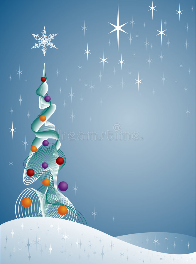 Árbol de navidad Nevado stock de ilustración