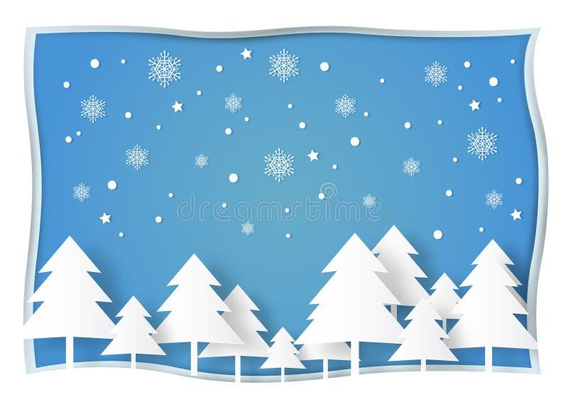 Árbol de navidad, nieve y copo de nieve blancos en fondo azul libre illustration