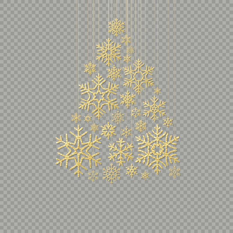 Árbol de navidad de oro del copo de nieve en el fondo transparente por Feliz Año Nuevo de la tarjeta de felicitación EPS 10 libre illustration
