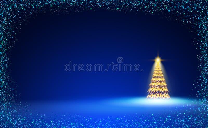 Árbol de navidad de oro y cielo azul La Navidad stock de ilustración