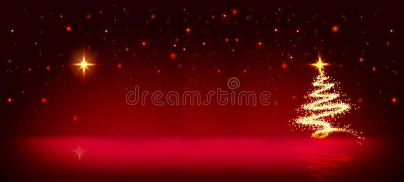 Árbol de navidad de oro y cielo rojo de la estrella libre illustration