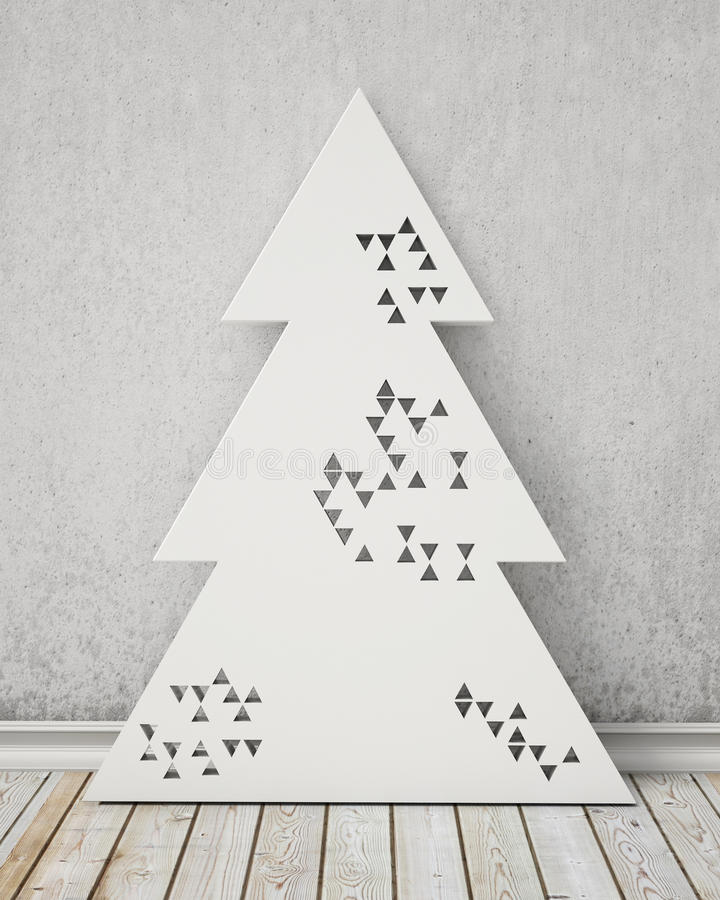 Árbol de navidad perforado geométrico del diseño moderno en el sitio del vintage, fondo stock de ilustración