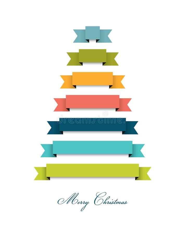 Árbol de navidad plano estilizado 2015 Decoración de las cintas ilustración del vector