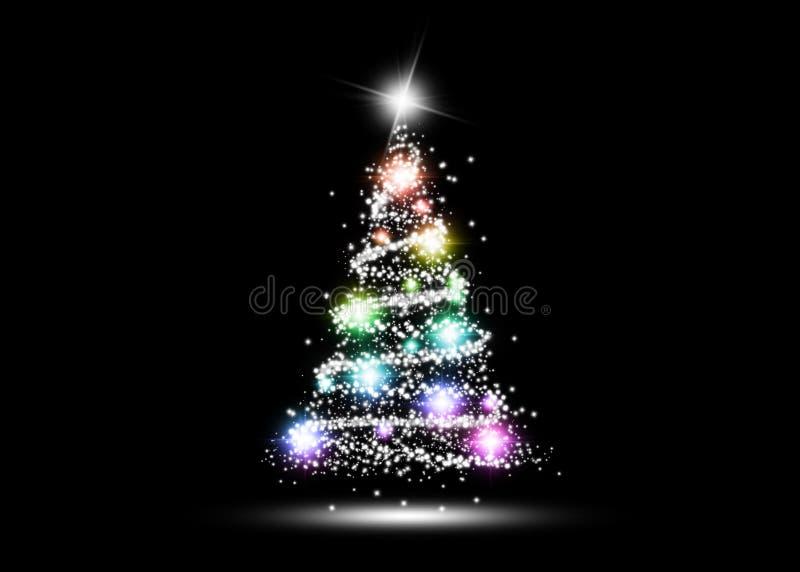 Árbol de navidad que brilla intensamente colorido fotografía de archivo