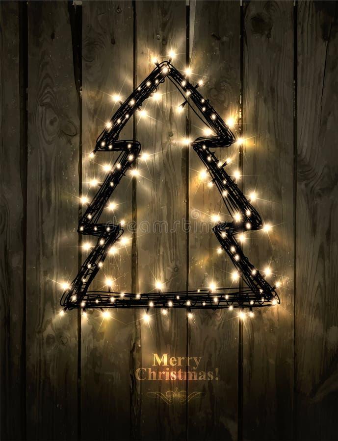 Árbol de navidad que brilla intensamente hecho de luces llevadas ilustración del vector