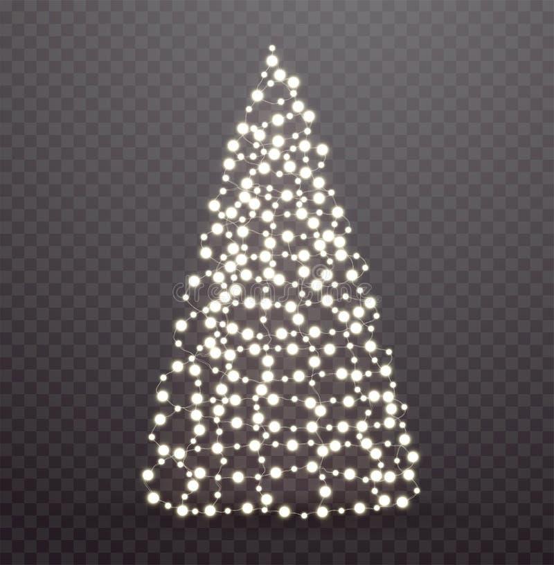 Árbol de navidad que brilla intensamente hecho de luces y de guirnaldas stock de ilustración