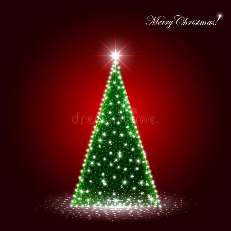 Árbol de navidad que chispea en el podio de la etapa ilustración del vector