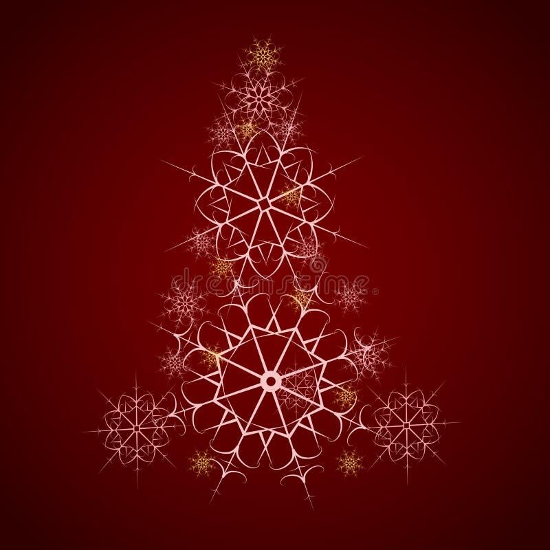 Árbol de navidad que consiste en los copos de nieve stock de ilustración