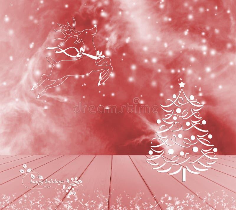 Árbol de navidad, reno y nieve en fondo rojo Tabla de madera vacía roja lista para su montaje de la exhibición del producto Buena libre illustration