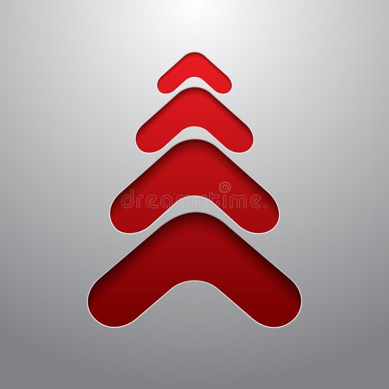 Árbol de navidad rojo del techno 3d stock de ilustración