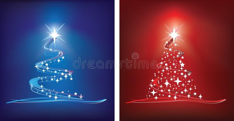 Árbol de navidad rojo y azul stock de ilustración