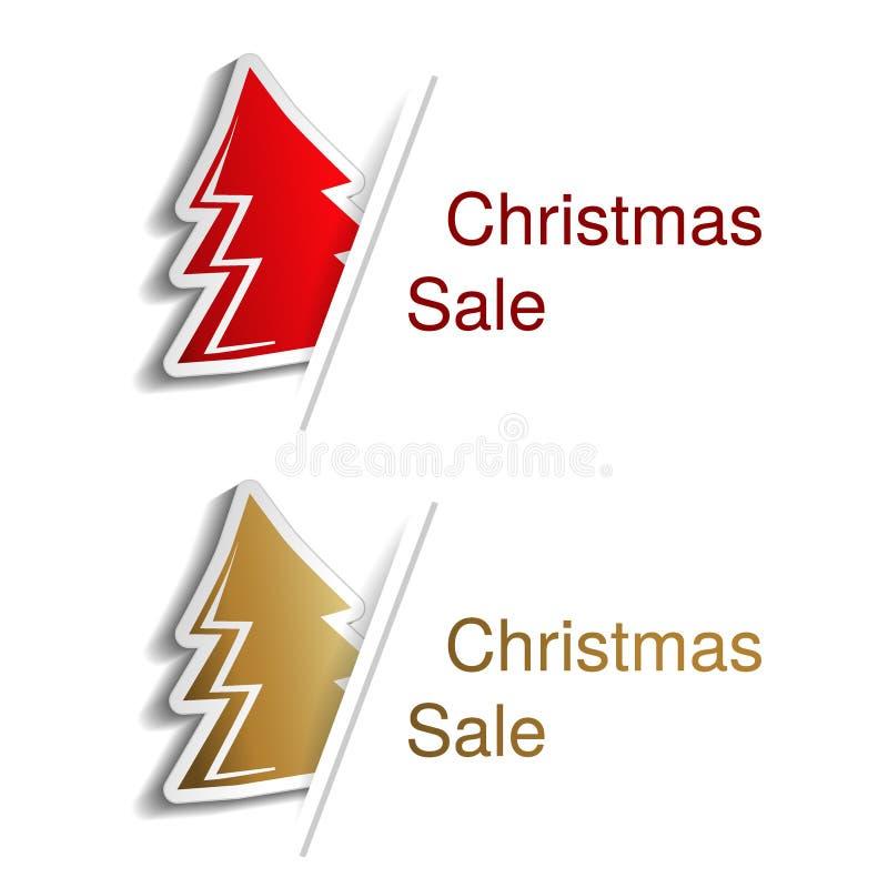 Árbol de navidad rojo y de oro con la etiqueta para hacer publicidad del texto en el fondo blanco, etiquetas engomadas con la som ilustración del vector
