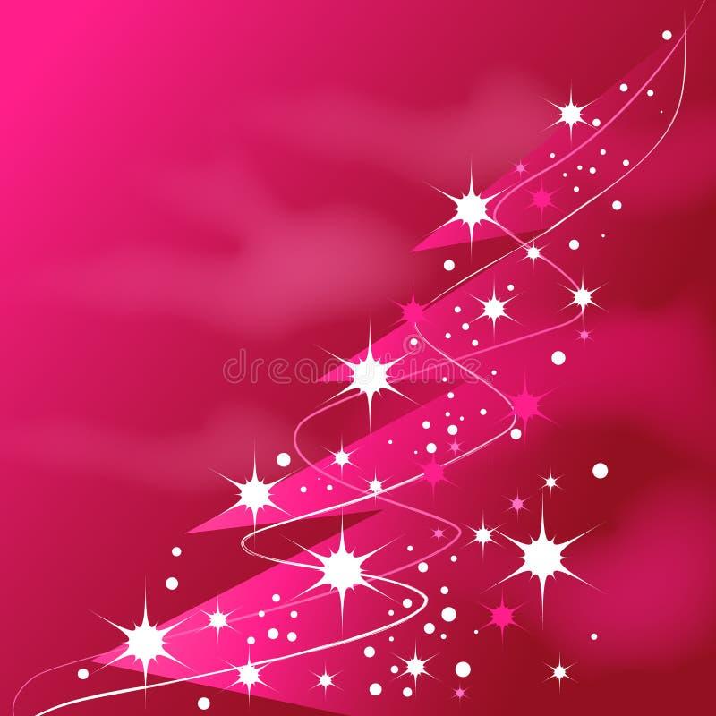 Árbol de navidad rosado brillante stock de ilustración
