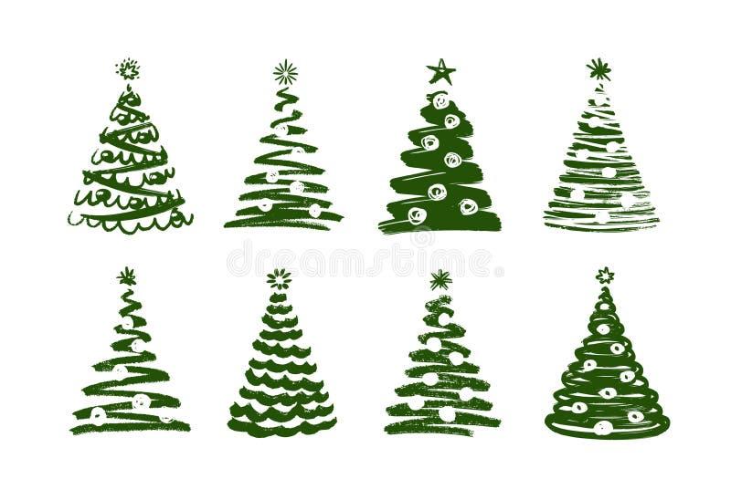Árbol de navidad, símbolo abstracto El Año Nuevo, Navidad fijó de iconos Ilustración del vector ilustración del vector