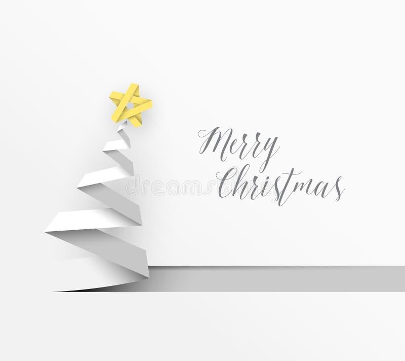 Árbol de navidad simple del vector hecho de la raya de papel libre illustration