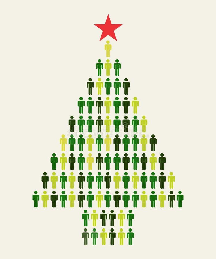 Árbol de navidad social de la gente de los media stock de ilustración