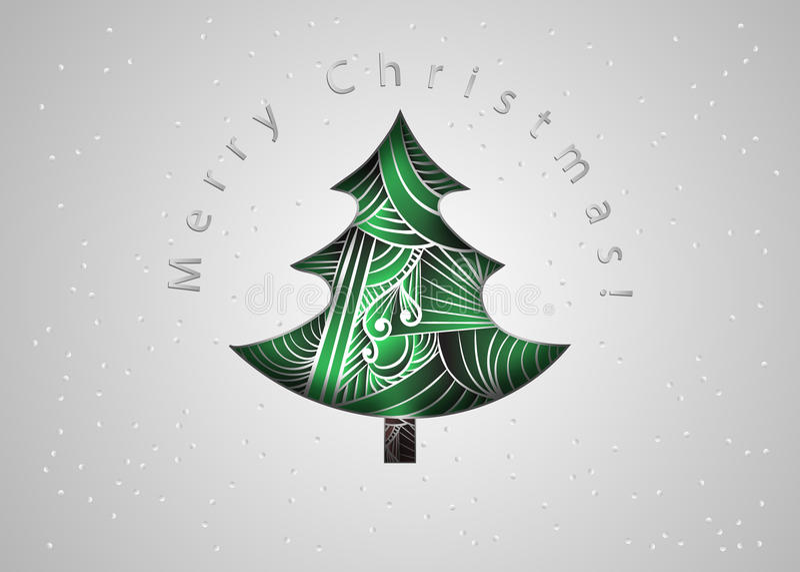 Árbol de navidad Tarjeta de Navidad en estilo del enredo del zen Tarjeta de la invitación de la Feliz Navidad corte del papel stock de ilustración