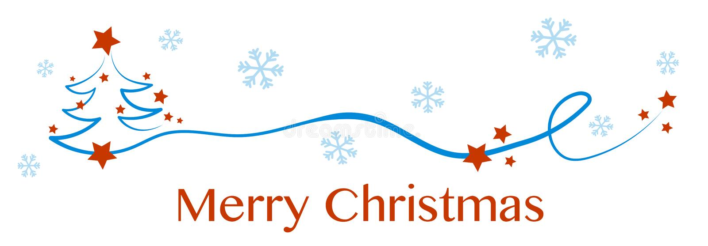 Árbol de navidad, tarjeta de felicitación Feliz Navidad con el abeto y las estrellas nevosos en el cielo y en el árbol libre illustration