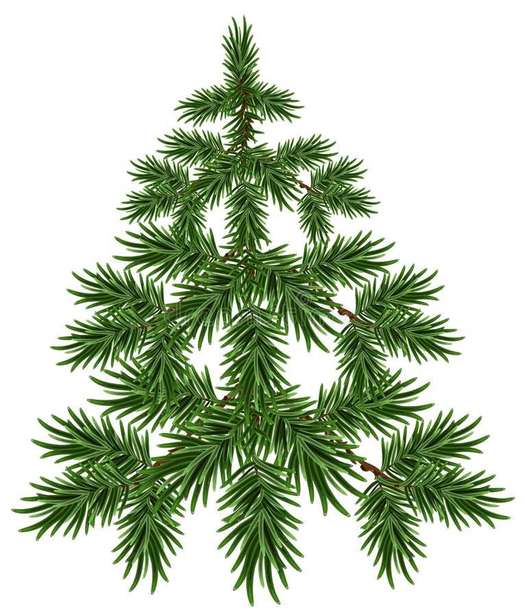 Árbol de navidad verde Abeto mullido Árbol de pino verde ilustración del vector